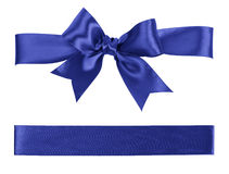 Big blue bow made from silk Royalty Free Stock Photos