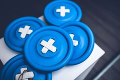 Big blue buttons Stock Photography