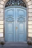 Double Door. Big Blue Closed Double Entrance Door royalty free stock photography