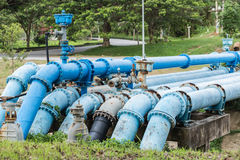 Big blue color main pipe for water supply Stock Images