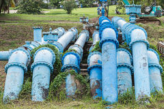 Big blue color main pipe for water supply Royalty Free Stock Photos