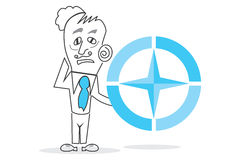 Big Blue Compass. Vector drawn Human with a big blue compass piece in hands Royalty Free Stock Photography
