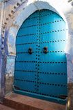 Big blue decorative gates, Chefchaouen, Morocco Stock Photography
