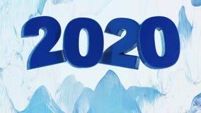 Big Blue 2020 design inom en glasyr på kaka för med is grotta