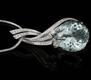 Big blue diamond. On black Stock Photo