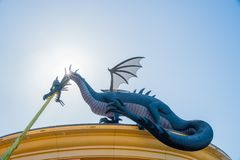Big blue dragon of the famous Lego store Royalty Free Stock Photo