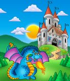 Big blue dragon with medieval castle. Color illustration Stock Photography