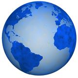 Big Blue Earth Globe. A Big Blue Textured Earth Globe, view of eastern and western hemispheres. 3D illustration vector illustration