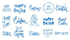 Big blue easter set. Collection Happy Easter Day handwritten sign. Spring style. April Sunday holiday. Hand drawn lettering. With heart, bunny ears, floral stock illustration