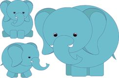 Big blue elephant in different angles. A large stylized elephant, blue, with small black eyes and small tusks, in three versions, a vector stock illustration