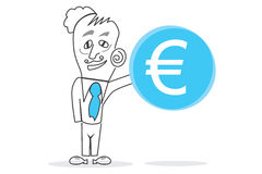 Big Blue Euro. Abstract design can be used in many jobs Stock Image