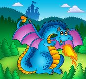 Big blue fire dragon with old castle. Color illustration Royalty Free Stock Photo