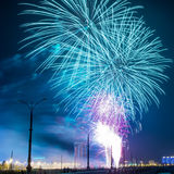 Big Blue Fireworks on a Dark Night Sky Background Stock Images
