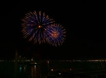 Big blue fireworks explode in Venice in dark sky,New Year fireworks in Venice, 4 July, Independence, fireworks explode, New Year, Royalty Free Stock Photography