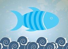 Big blue fish. Over lineal background vector illustration Stock Images
