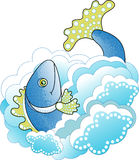 Big Blue Fish in the Sea. Vector illustration Royalty Free Stock Photos