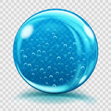 Big blue glass sphere with air bubbles Stock Image