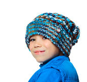 Big blue hat. Blue hat and vest clothing boy on white background Stock Photo