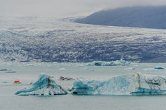 Big blue icebergs at glacier lagoon on Iceland, summer time Royalty Free Stock Photo