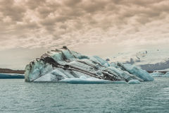 Big blue icebergs at glacier lagoon on Iceland, summer 2015 Stock Photo