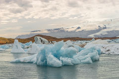 Big blue icebergs at glacier lagoon on Iceland, summer 2015 Royalty Free Stock Photography