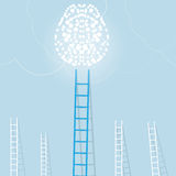 Big blue ladder from light brain with small white ones. goal setting business concept background Stock Image
