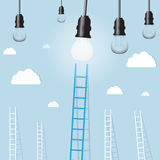 Big blue ladder from light lamp with small white ones. goal setting business concept background Royalty Free Stock Photos