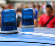 Big blue lights siren of a police car in the big city Royalty Free Stock Photography