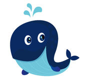 Big blue cartoon whale. Vector Illustration of happy cartoon whale with water splash Royalty Free Stock Photo