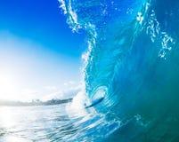 Big Blue Ocean Wave Splash. Blue Ocean Wave Barrel Splash Stock Image