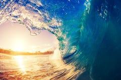 Big blue ocean Wave sunny sky. Blue Ocean Wave splashing under sunny sky Stock Photos