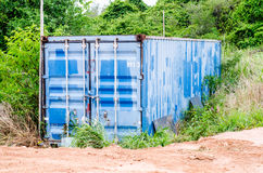 Big blue old storage trailers Royalty Free Stock Images