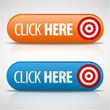 Big blue and orange click here buttons. With shadow and reflections Royalty Free Stock Image