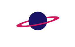 Big blue planet with pink ring Stock Image