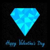 Big blue polygonal diamond on the black background Royalty Free Stock Photography