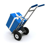 Big blue present delivery Stock Image