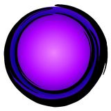 Big Blue Purple Circle Icon. A large blue and purple circle shape with ink pen border isolated on white background. Ideal for use as background, icon, buttons