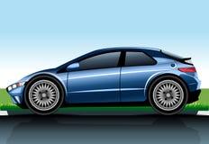 Big blue realistic car model Stock Photos