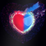 Big Blue Red Heart. Illustration Royalty Free Stock Photo