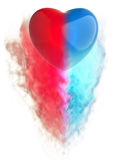 Big Blue Red Heart - smoke FX Royalty Free Stock Image