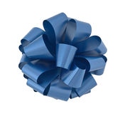 Big blue ribbon bow cutout Royalty Free Stock Photography