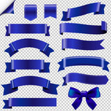 Big Blue Ribbons Set Stock Photography