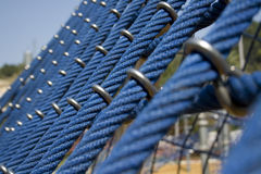 Big blue ropes in a playground, for children Royalty Free Stock Images