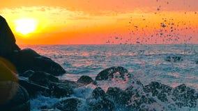 Big blue rough ocean surfing waves slowly splash, crash, break. Rolling tropical Thailand beach. Suncet. Big blue rough ocean surfing waves slowly splash, crash stock video