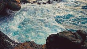 Big blue rough ocean surfing waves slowly splash, crash, break. Rolling tropical Thailand beach. Suncet. close-up. Big blue rough ocean surfing waves slowly stock footage