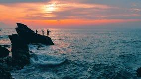 Big blue rough ocean surfing waves slowly splash crash break. Thailand beach fishermen. Big blue rough ocean surfing waves slowly splash, crash, break. Rolling stock video