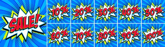 Big Blue sale set. Sale inscription and all percent numbers. Blue and red colors. Pop-art comics style web banners. Flash animation, stickers, tags. Vector Stock Images