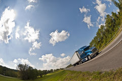 Big Blue Semi Truck On Highway Stock Photos