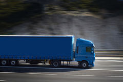 Big blue semi truck Stock Images