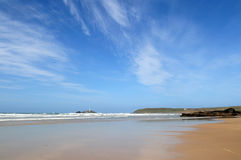 A big blue sky and sea. A big blue sky at Gwithian sands, Cornwall, UK Royalty Free Stock Image